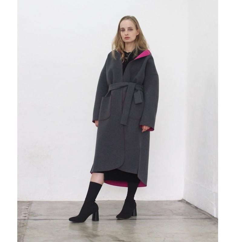 即納(original)neo coat(チャコール×ピンク)