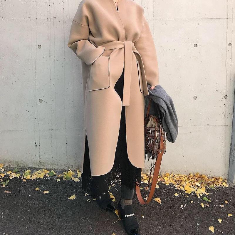 (original)neo coat (ベージュ×ブラック)