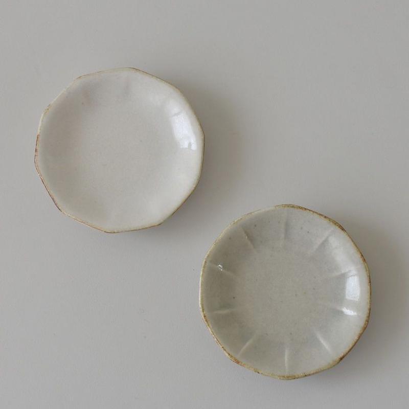 たくまポタリー 10角 小皿 白・やわグレー