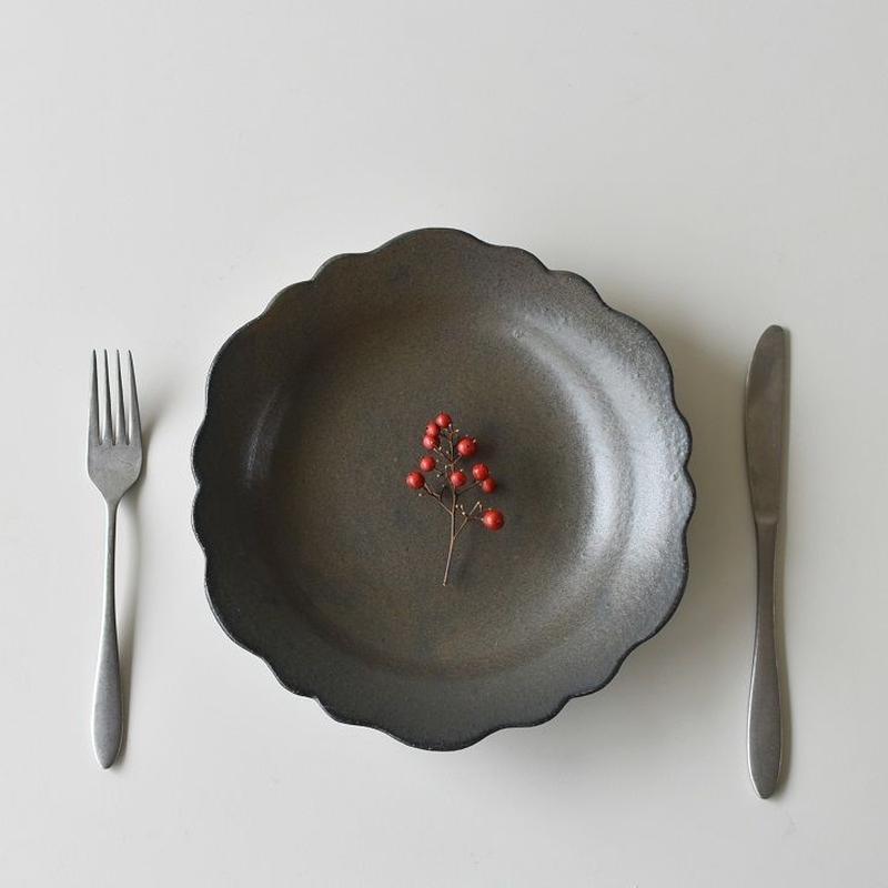 たくまポタリー 芙蓉 8寸皿 こげ茶