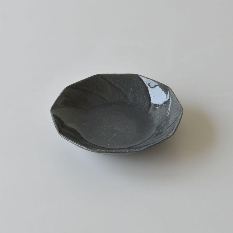 たくまポタリー 6寸皿 ねじり10角  藍