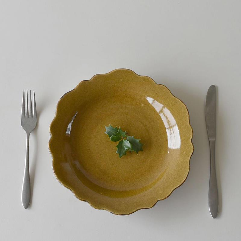 たくまポタリー 芙蓉 8寸皿 キャラメル