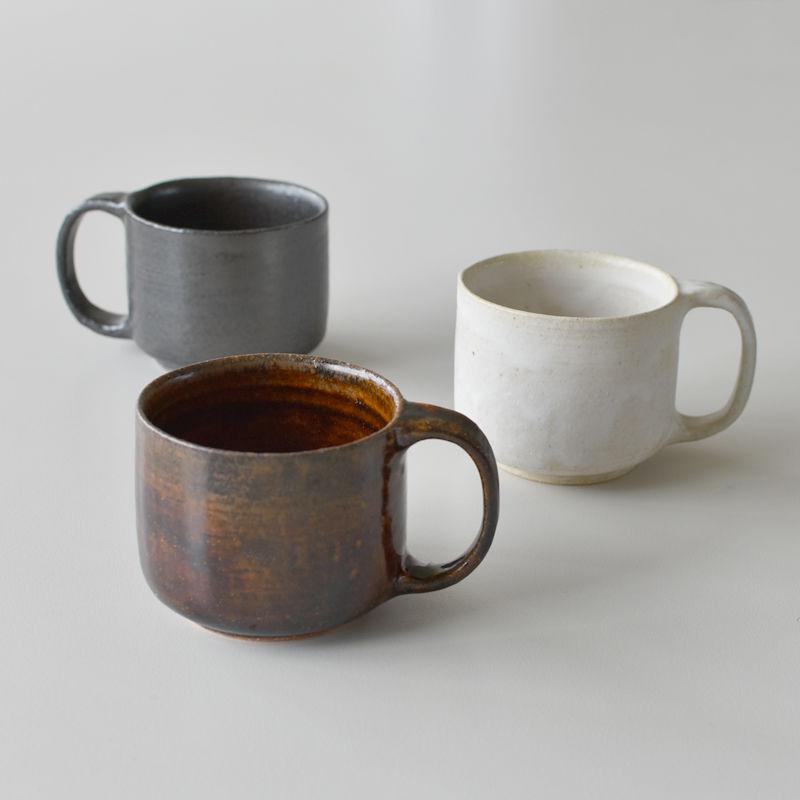 たくまポタリー マグカップ 飴釉・こげ茶・きなり