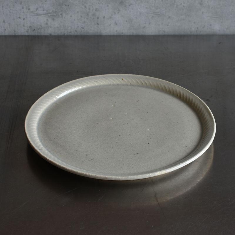 たくまポタリー 8寸皿 縄 やわグレー