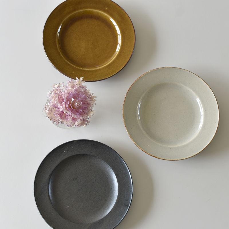 たくまポタリー 7寸リム皿 キャラメル・やわグレー・こげ茶