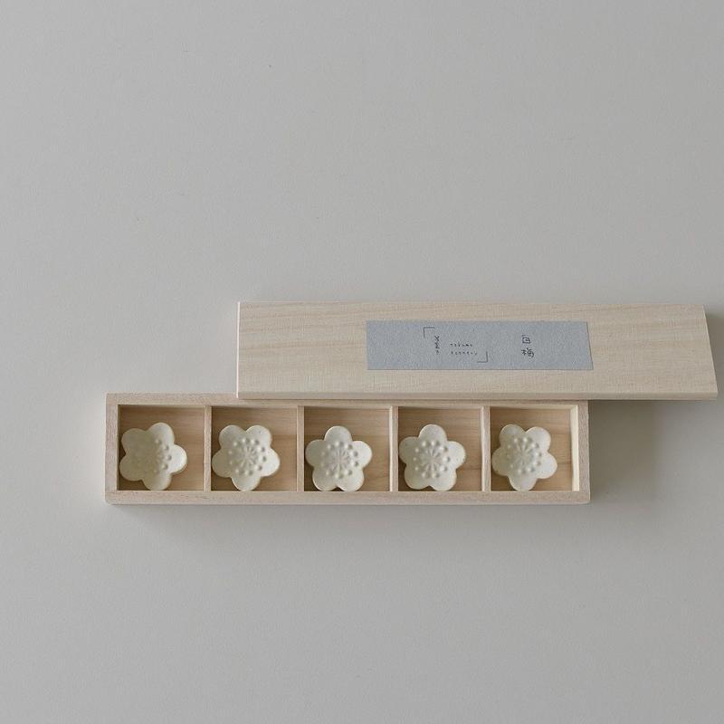 たくまポタリー 白梅 箸置き5個セット 箱入り
