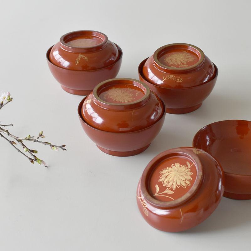 古道具部 朱漆菓子椀 牡丹