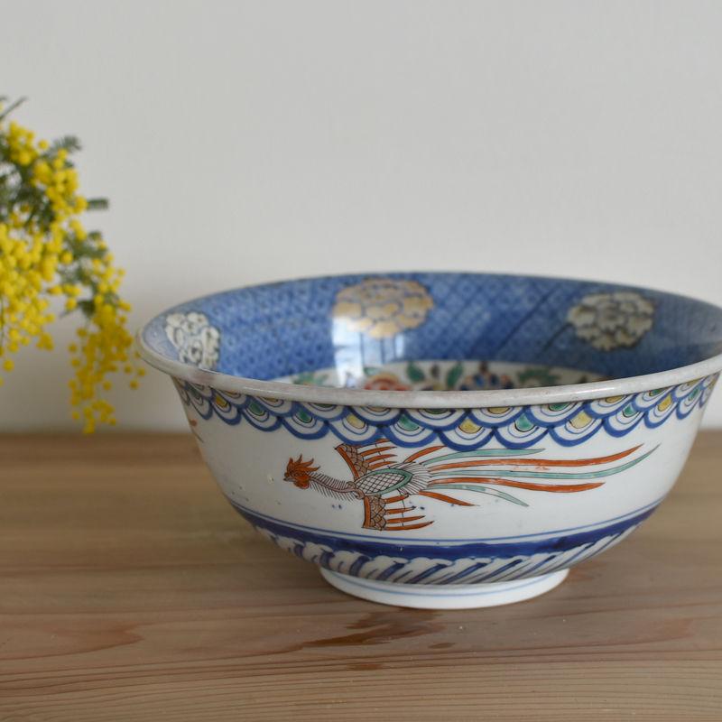 古道具部 色絵深鉢「牡丹と丸文」鎹直しあり