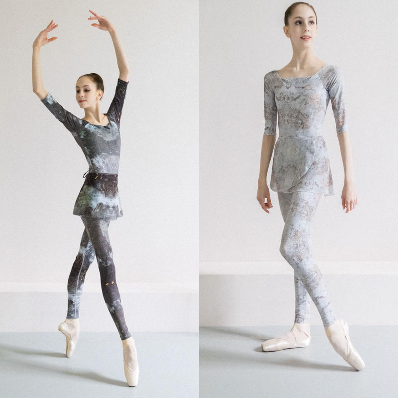 [Zi dancewear] Chiffon skirt (S丈), stained with the print Delicate Dirt & Mud