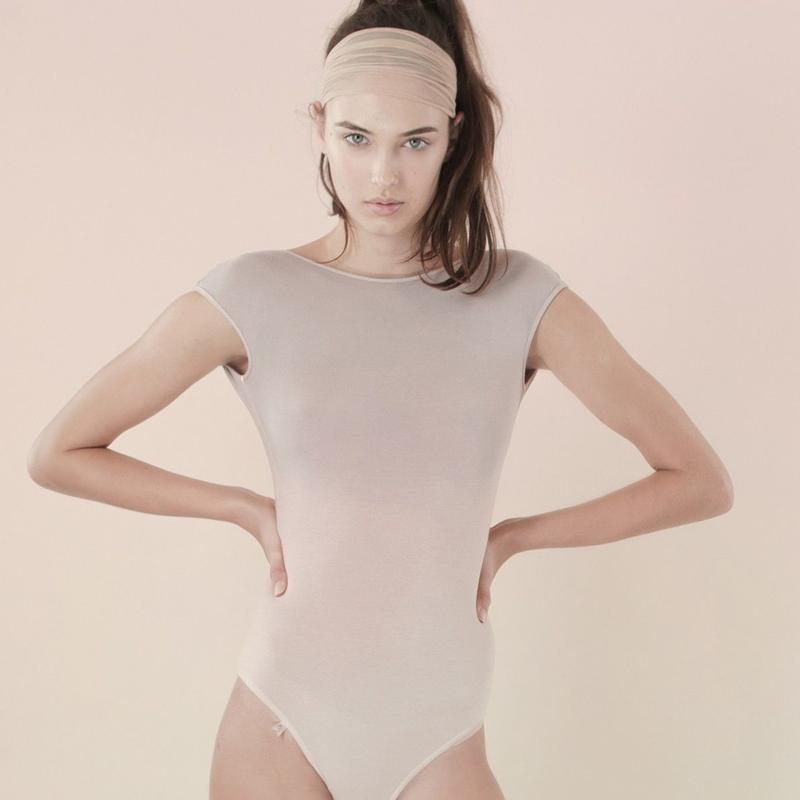 [Just A Corpse] COTTON-CANDY – light pink tri-color backless leotard