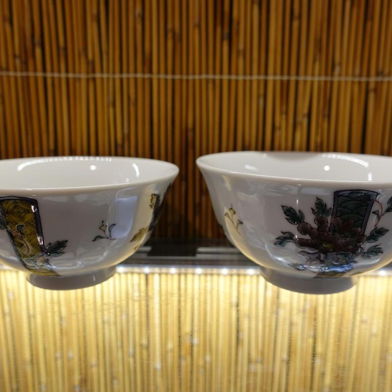 銀泉窯夫婦飯碗(色絵牡丹大)