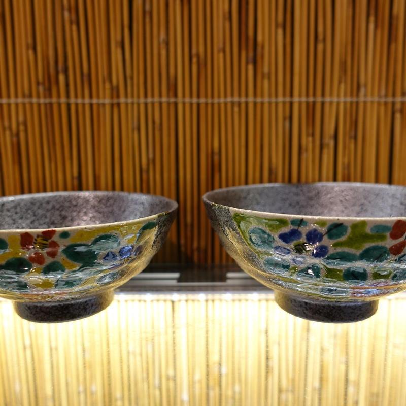 珠峰窯夫婦飯碗(半掛花紋大)