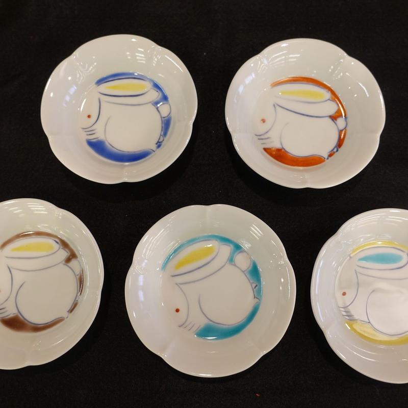 小皿揃え(梅型うさぎ5色)