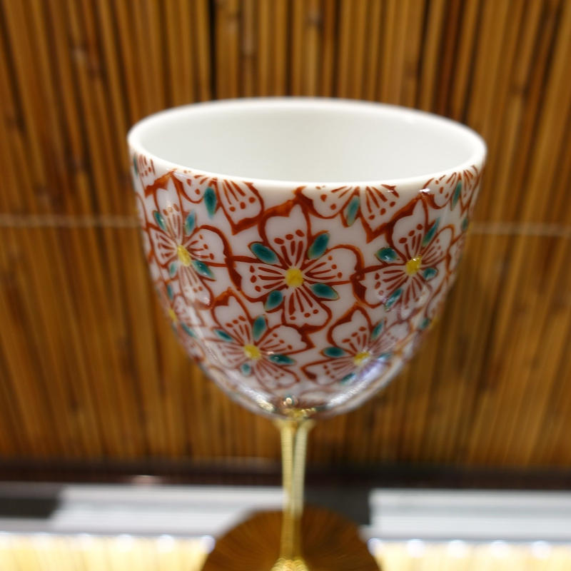 ワインカップ(花小紋赤)