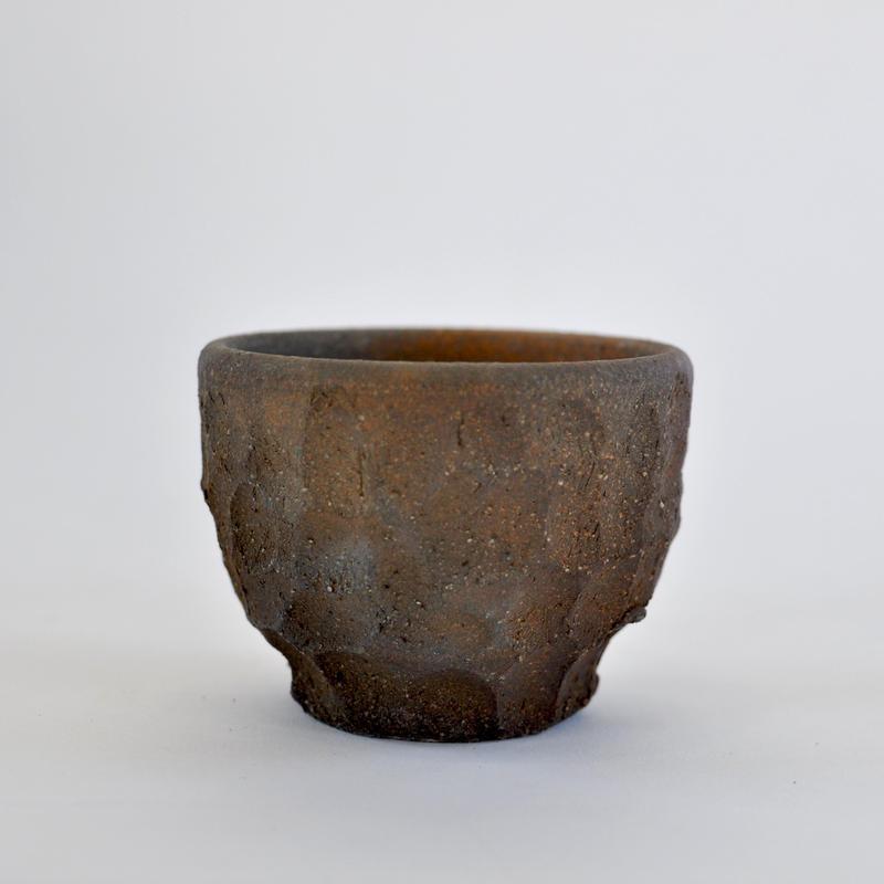 陶器鉢-窯変面取り-