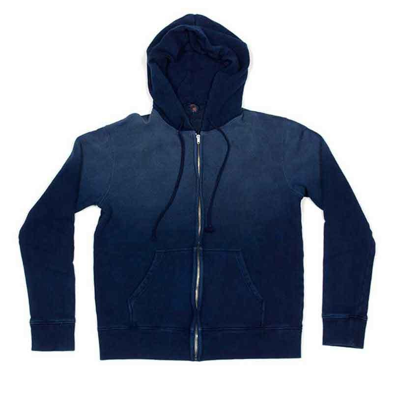 INDIGO DYED SWEAT ZIP PARKA