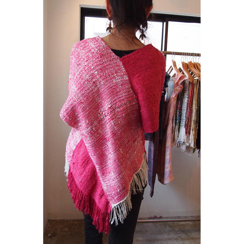 Yarn dyed × overdyed『kibiso』poncho(long)