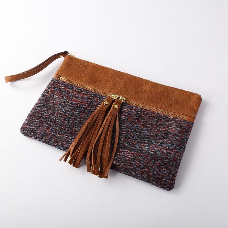 silk×leather clutch bag