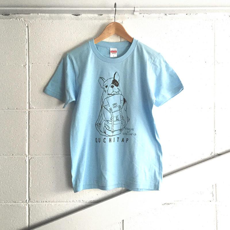オリジナルTシャツ 「ワタシモキャンプニツレッテッTee」ライトブルー×ブラック