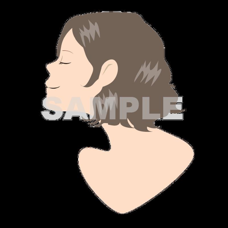 【POP素材】女性イラスト(横顔・パーマヘア)