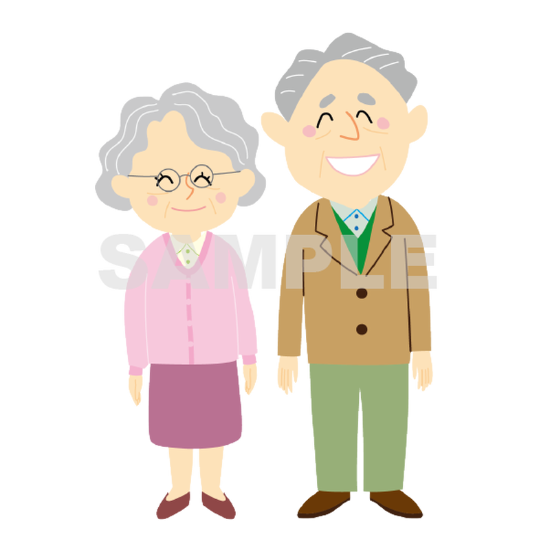 【POP素材】老夫婦のイラスト