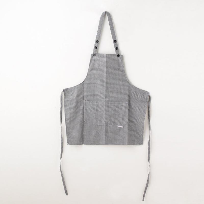 【イタリア製】胸付きショートエプロン 千鳥格子 エゴシェフ