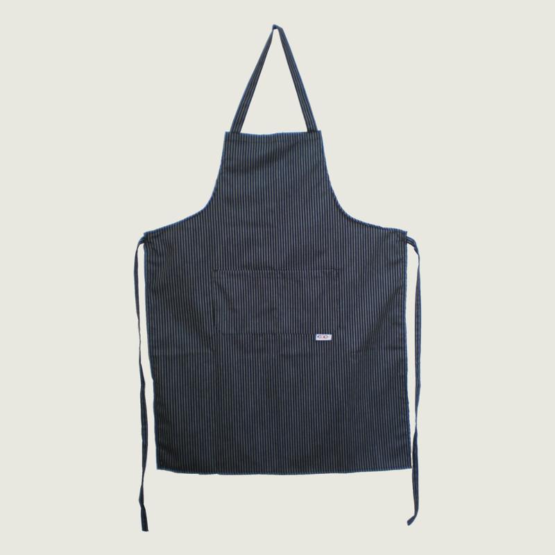 【イタリア製】胸付きシェフエプロン サー(ストライプ柄) エゴシェフ