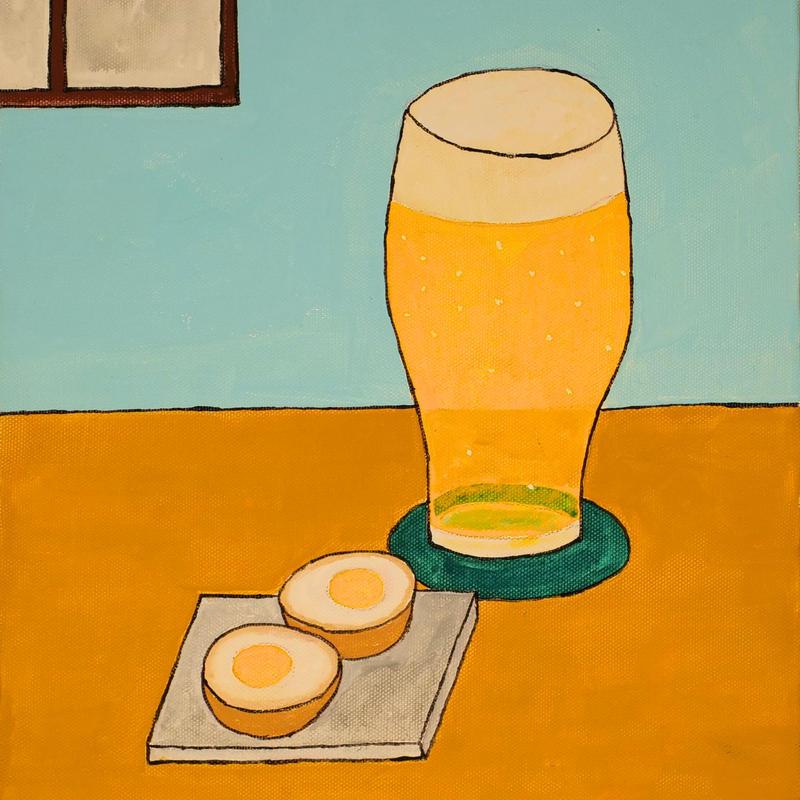 「煮卵とビール」