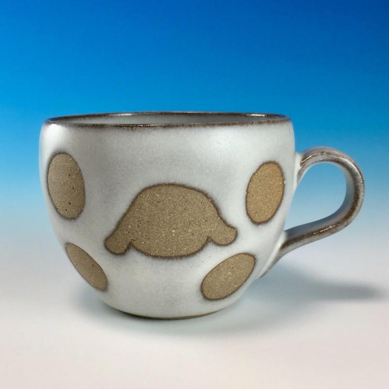 【M156】エンブレムマグカップ小(白マット白土・ロップ・うさぎ印)
