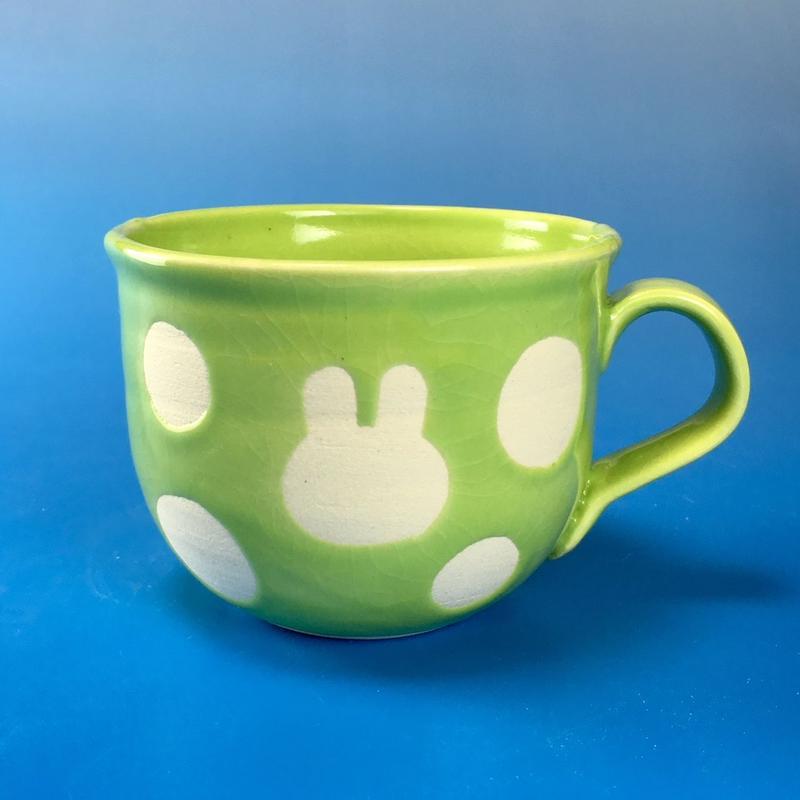 【M049】広口のうさぎ水玉模様のマグカップ小(アップルグリーン・うさぎ印)