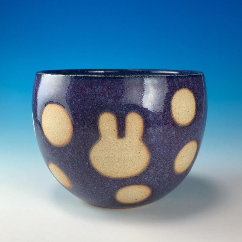 【F017】うさぎ水玉模様のフリーボール(淡青白土・うさぎ印)