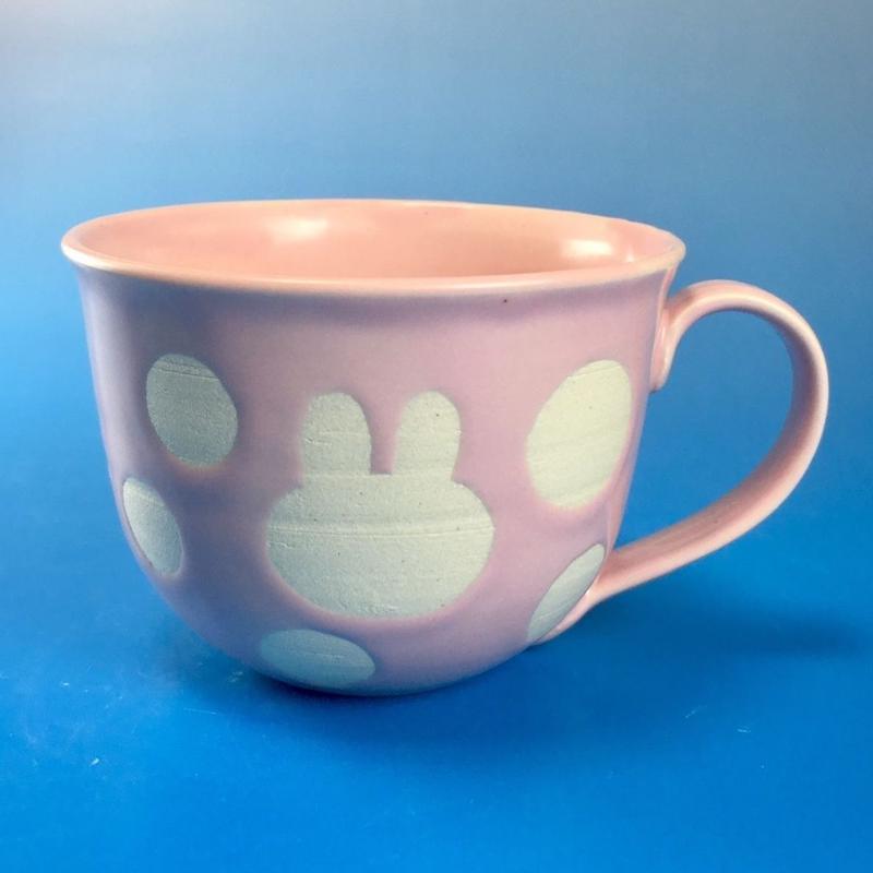【M047】広口のうさぎ水玉模様のマグカップ大(マカロンピンク・うさぎ印)