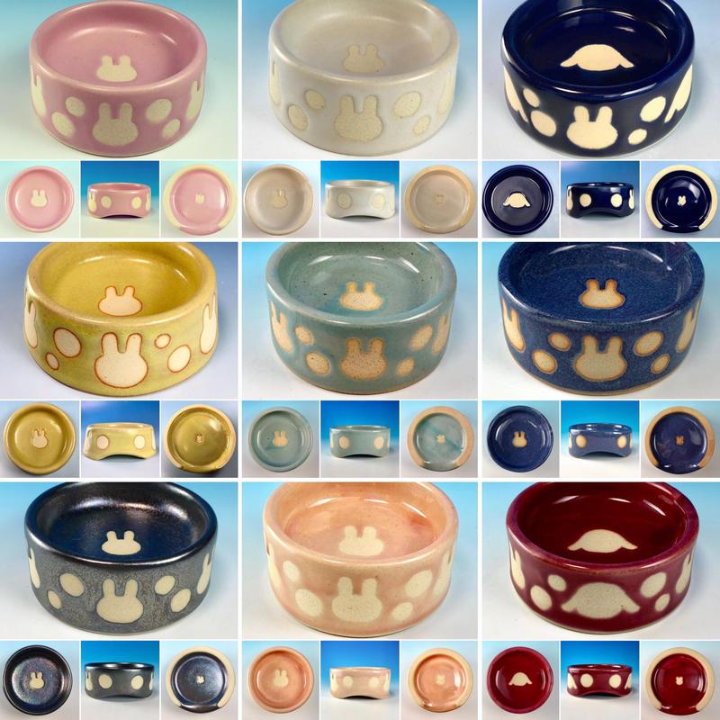 【Reserved item】うさぎ水玉模様のうさぎ様用食器・SSサイズ(選べるカラー9色・うさぎ印)