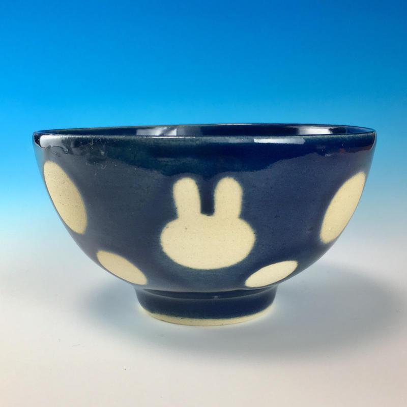 【G064】うさぎ水玉模様のご飯茶碗ミニ(ネイビー・うさぎ印)
