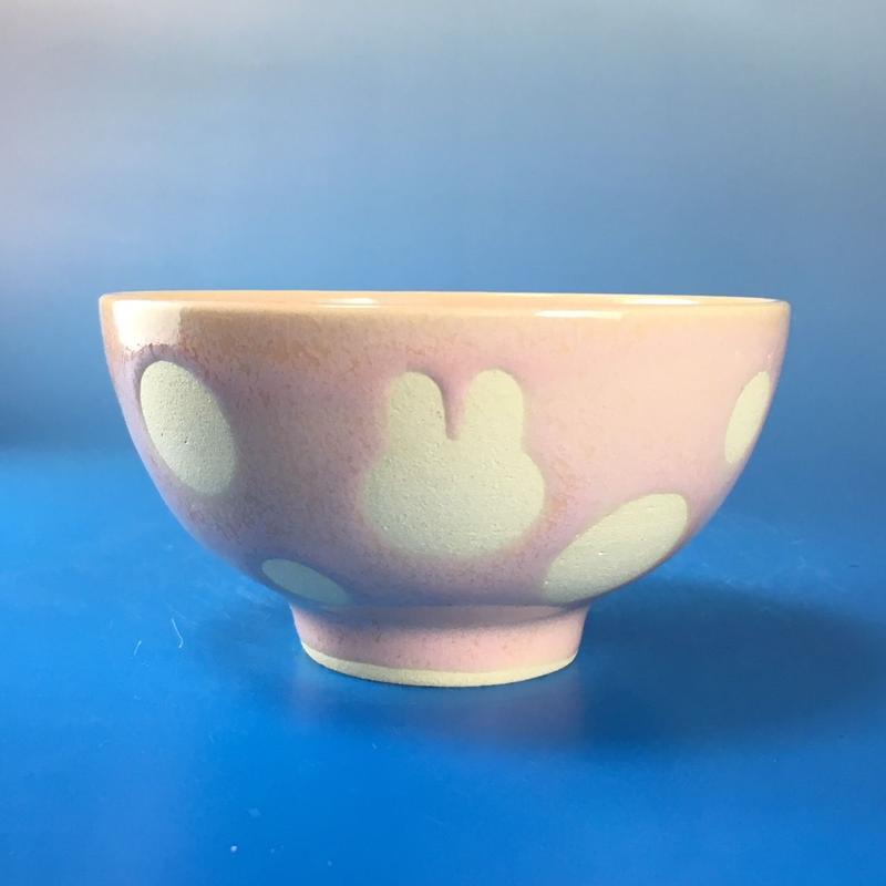 【G028】うさぎ水玉模様のご飯茶碗ミニ(桜花ピンク・うさぎ印)