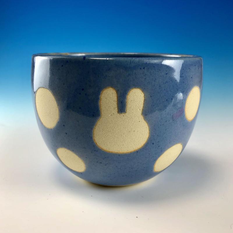 【F033】うさぎ水玉模様のフリーボール(淡青・うさぎ印)