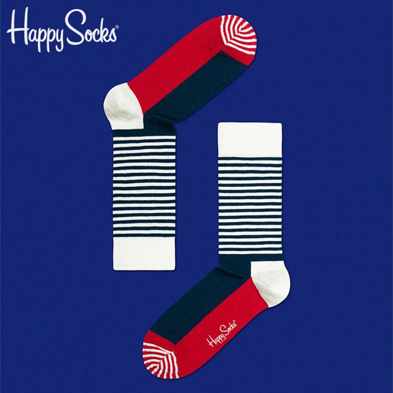 【SALE】Happy Socks〈ハッピーソックス〉/ 靴下 ストライプハーフ【sh01068】