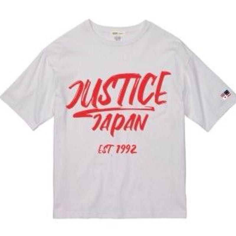 2019 NEW MODEL【JUSTICE】JAPAN LOGO 5.6oz DROP-TEE  color : White x Neon Red