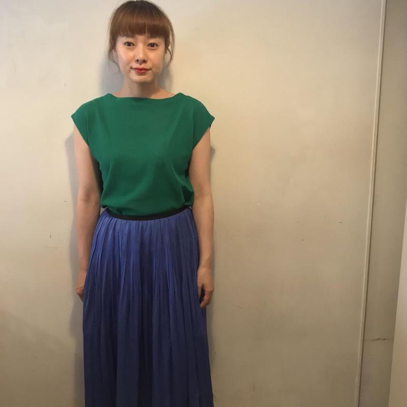 サテンスカート/BLUE