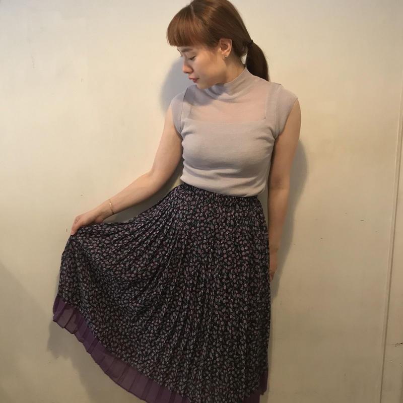 柄プリーツスカート/BLACK×PURPULE