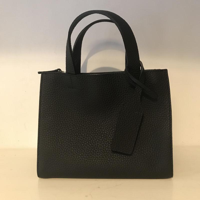 3pocket牛革bag/smallBLACK