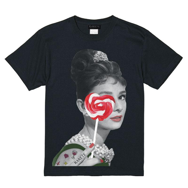 RARETE (ラルテ)    Hepburn キャンディー ハート Tシャツ  ブラック