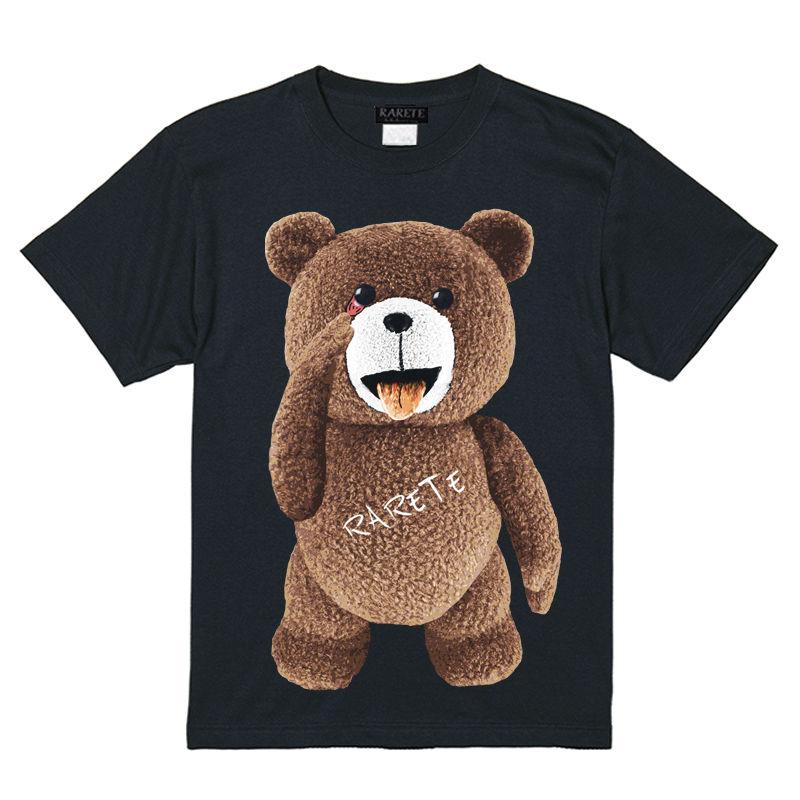 RARETE (ラルテ)  テディベア  あっかんベー!【茶色】 Tシャツ ブラック