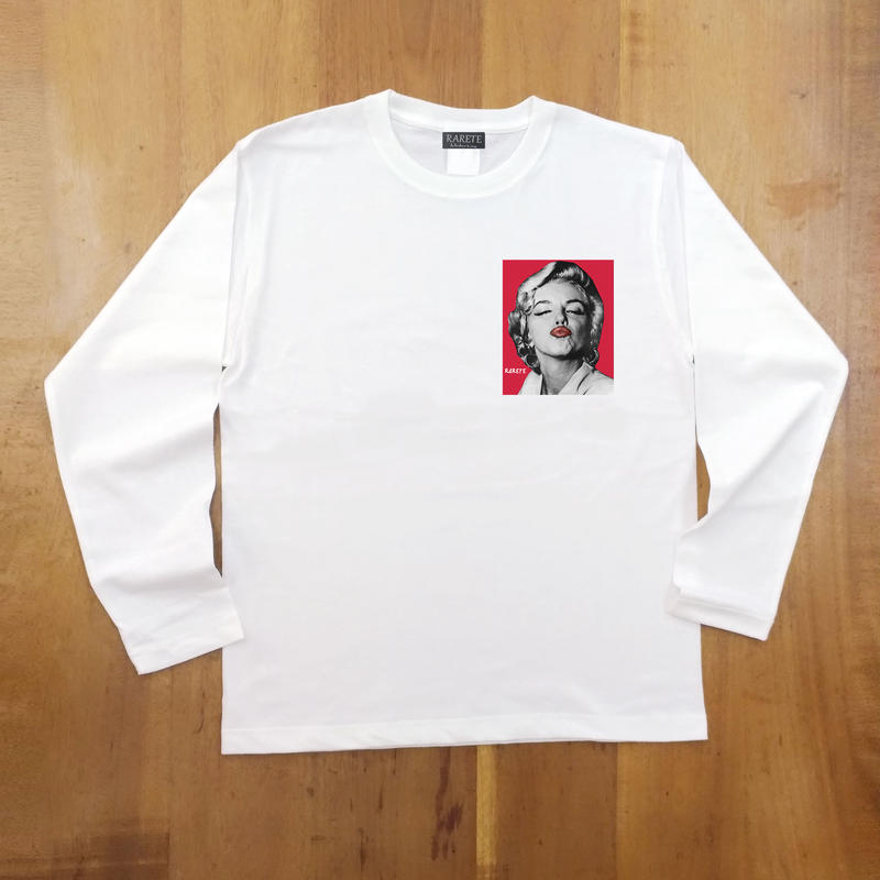 RARETE (ラルテ)  マリリンモンロー キス   バックプリント  ホワイト  長袖Tシャツ
