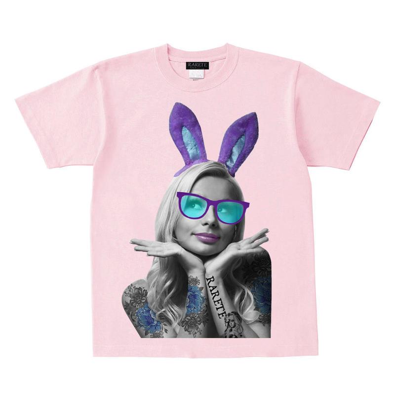 RARETE (ラルテ)    バニー タトゥー サングラス Tシャツ  ライトピンク