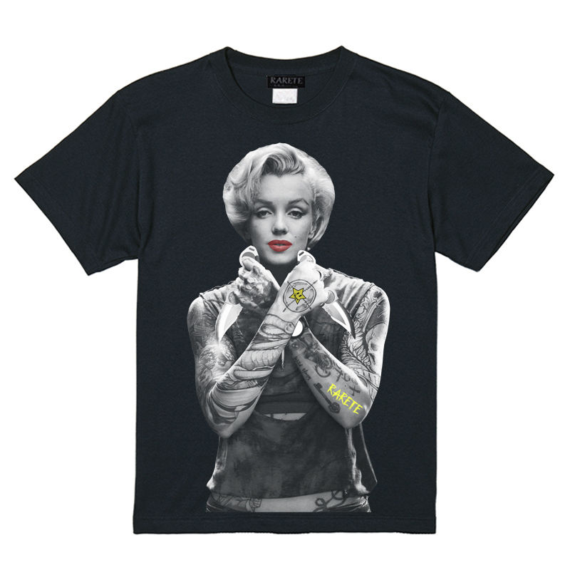 RARETE (ラルテ)    マリリンモンロー ナイフ tattoo  Tシャツ ブラック