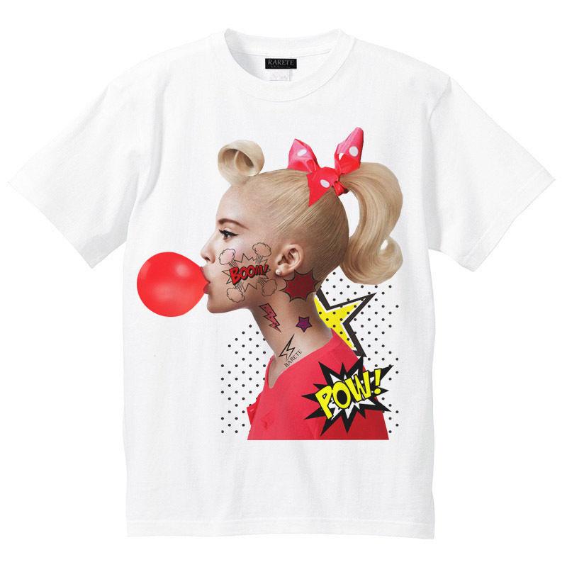 RARETE (ラルテ)   ガール ガム  アメコミ  Tシャツ ホワイト