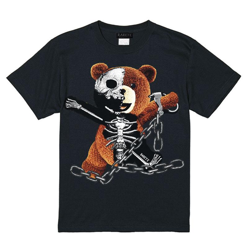 RARETE (ラルテ)    テディベア ガイコツ 鎖   Tシャツ ブラック
