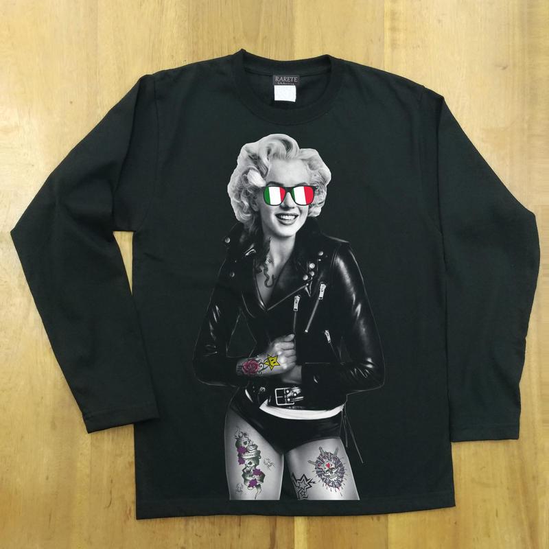 RARETE (ラルテ)  マリリン モンロー ライダースジャケット イタリア  ブラック  長袖Tシャツ