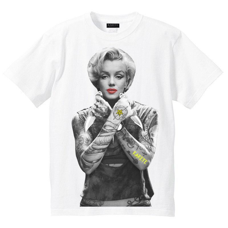 RARETE (ラルテ)    マリリンモンロー ナイフ tattoo  Tシャツ ホワイト